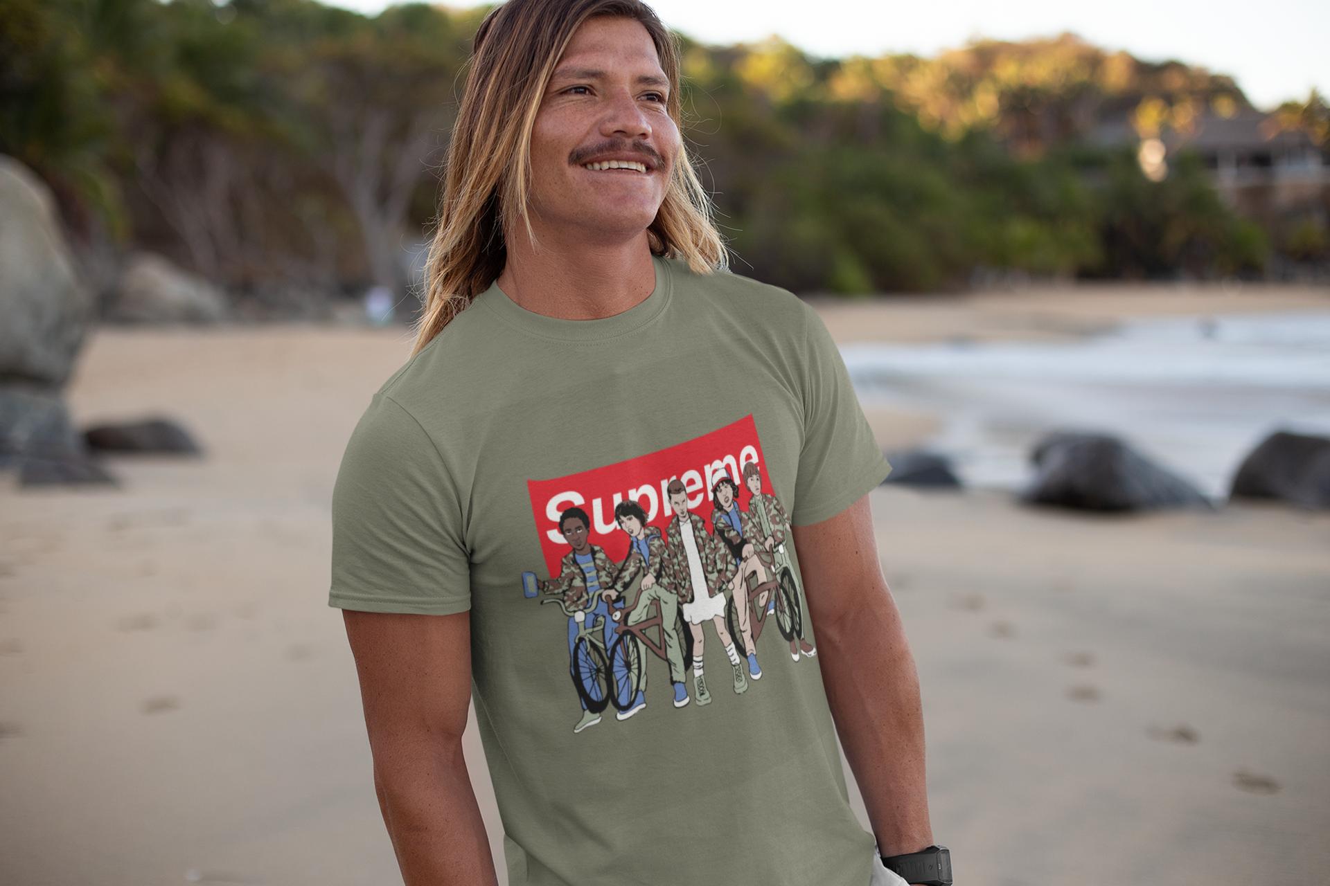 Camiseta de serie de TV stranger things supreme verde TYS